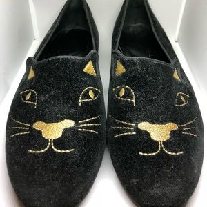 Gatsby Kitty Black Velvet Loafer Flats